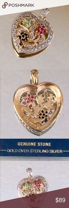 Ruby Sapphire Emerald Diamond Heart Pendant. NWOT Gorgeous!  Genuine precious gemstones prong set in a detailed heart design.  I have the earrings to match in a separate listing!  14k over sterling Jewelry Necklaces
