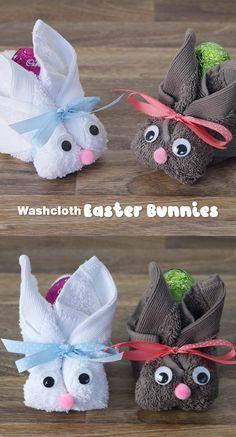 Washcloth bunny craft