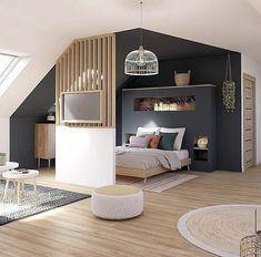 Attic Bedroom Designs, Deco Studio, Loft Room, Home Room Design, Home Decor Shops, Apartment Design, House Rooms, Home Decor Inspiration, Small Spaces