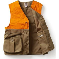 This Filson Hunting Vest, made with renowned Tin Cloth and with an expandable rear game bag, bellows pockets and dual-side shooting patches, this vest has all the bells and whistles you need. Hidden-button pockets let you shoot with ease and not worry about equipment scratching or fabric getting caught. The Blaze Orange accents enhance visibility so you and your friends can hunt in peace. The cut allows for maximum mobility and maneuverability. Step your hunting game up a notch with this Filson Hipster Fashion, Mens Fashion, Steampunk Fashion, Gothic Fashion, Hunting Vest, Hunting Dogs, Fleece Pullover, Camo, Inspiration Mode