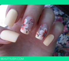 Looking for new nail art ideas for your short nails recently? These are awesome designs you can realistically accomplish–or at least ideas you can modify for your own nails! Flower Nail Designs, Pretty Nail Designs, Flower Nail Art, Nail Art Designs, Hibiscus Nail Art, Tropical Flower Nails, Tropical Nail Designs, Gorgeous Nails, Pretty Nails