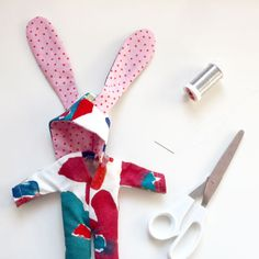 pink rabbit with flowers diy