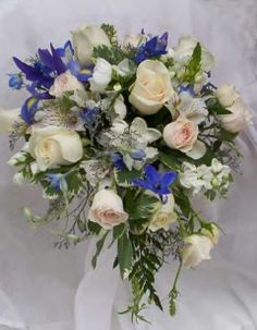Cascading Bridal Bouquets | Stunning Semi-Cascading Bridal Bouquet 18 Multi-Shade Pastel Premium ...