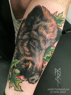 #boar #wildboar #razorback #neotraditional #tattoo #tattoos
