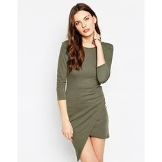 Club L Essentials Asymetric Hem Ponti Body-Conscious Dress ($18) ❤ liked on Polyvore featuring dresses, khaki, tall dresses, khaki dress, white scoop back dress, white body con dress and white dress