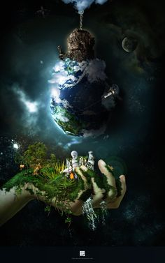 ♂ Dream Imagination Surrealism Impressive and Creative Digital surreal art dark world green earth hand