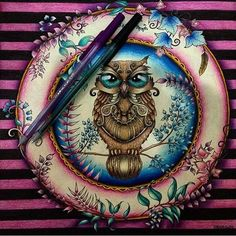 """""""ⓜⓞⓡⓡⓔⓝⓓⓞ de amores por essa inspiração linda da corujinha da @victorialorrana ❤ fundo super diferente e com cores lindas! Amei o contraste com a coruja!!…"""""""