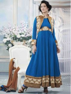 Blue Color Partywear Embroidered Anarkali Suit