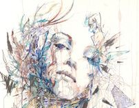 """The Violence of Flowers"" - Several gorgeous pieces.  Fragments - Exhibition of drawings in Ink and Tea by Carne Griffiths, via Behance"