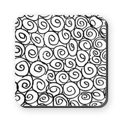 Swirl rolls roses patterns Cork Coaster> Twirl rose pattern in black and white> Victory Ink 2