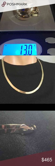 """14k Flat *Shiny* Herringbone Chain ********LAYAWAY AVAILABLE {Inquire}!******* ____________________________________ •Super shiny, 14K high-polish flat herringbone chain. •A little over 20"""" long. •6mm wide!                                                  •Real Solid 14k 14 k 14kt 14 kt Not 10k 18k 22k or 24k Jewelry Necklaces"""
