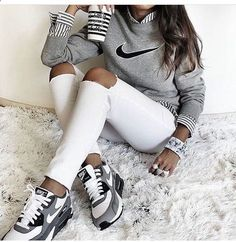Shoes: nike, air max, low top sneakers, grey sneakers, nike sneakers, grey sweater, nike sweater, striped shirt, marble, back to school, white ripped jeans - Wheretoget