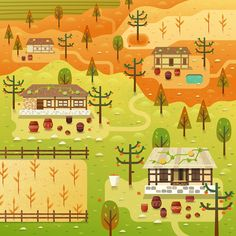 'Chuseok' Korean village scene for Two Dots games. Vector illustration.