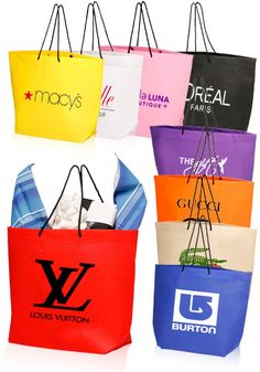 Non-Woven Gift Bags with Black Carry Handle and Gusset. Get them personalized with your logos, graphic designs or text custom printed right on them.