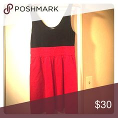 """Dress Excellent condition Spandex cotton bust empire waist like new approx 31"""" from shoulder cotton poplin red with pockets Express Dresses Mini"""