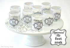 {Spa Party} Peppermint Tea Foot Soak & Foot Scrub Recipes