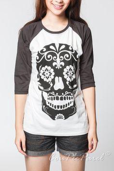 Skull T Shirt Maya Ancient Day of The Dead Bone Baseball Tee Shirt Jersey Raglan Long Sleeve Unisex Women Shirt Size S M L XL on Etsy, $17.99