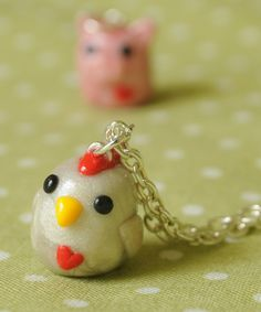 Kawaii Chicken Polymer Clay Necklace by PumpkinPyeBoutique on Etsy, $17.00