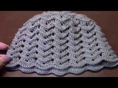 Вязание женской шапки с вогнутыми и простыми столбиками крючком часть 1 из 15 - YouTube