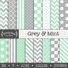 Mint Digital Paper Pack Grey Digital Scrapbook Paper by Pininkie, $4.00