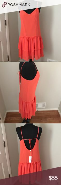 BCBGeneration Coral/Orange Dress NWT New with tags BCBGeneration hot Coral drop waist dress. *note last photo, left front strap could use a small stitch to secure* BCBGeneration Dresses