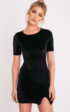 Freyah Black Velvet Split Detail Bodycon Dress - Dresses - PrettylittleThing | PrettyLittleThing.com