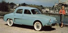 Renault Dauphine (1959). Bought for $15. Blew a head gasket 2 years later because of damage to engine hoses, and sold it back to the guy I bought it from for ten dollars more than I paid for it. Mine was two toned blue and white, but I couldn't find a photo like that.