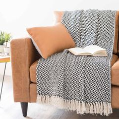 Überwurf aus Baumwolle schwarz/weiß 160 x 210 cm | Maisons du Monde