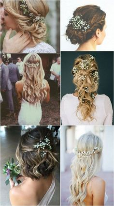 romantic wedding hairstyles with baby's breath # wedding flowers # wedding bouquets outside wedding Romantic Wedding Hair, Wedding Hair Down, Wedding Hair And Makeup, Romantic Weddings, Bridal Hair, Wedding Flowers, Rustic Weddings, Fall Wedding Hair, Half Up Half Down Wedding Hair
