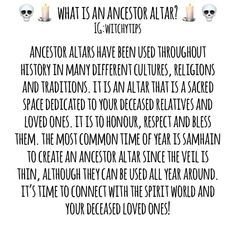 Let's talk ancestor altars! They're used to honour, respect and connect to your deceased loved ones. Connect with your ancestors to get… Magick Spells, Witchcraft, Wicca, Personal Altar, Talking To The Dead, Soul Healing, Spiritual Connection, Sabbats, Spirit Guides