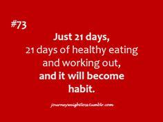 21 días de comer sano y ejercitarte, y se convertirá en un habito.