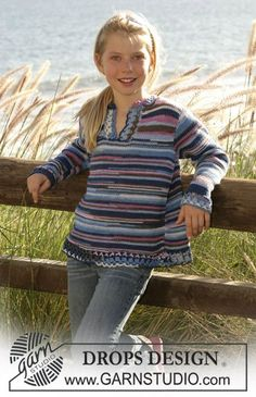 """DROPS Children - DROPS tunic knitted with """"Muskat soft"""" and a crochet edge. - Free pattern by DROPS Design Kids Knitting Patterns, Knitting For Kids, Knitting Patterns Free, Free Knitting, Baby Knitting, Free Pattern, Crochet Patterns, Drops Design, Crochet Girls"""