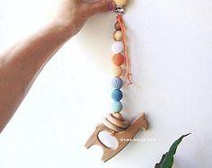 Hölzerne Lama AmaMama Baby Schnuller clip Bio, Spielzeug Kinderkrankheiten, Perlen häkeln, erste Baby-Spielzeug
