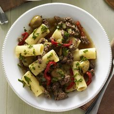 Rigatoni with Beef and Green Olives