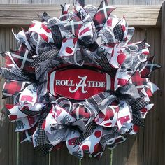 Alabama Football Wreath, Alabama Wreath, Roll Tide, Bama wreath, deco mesh wreath using ruffle method, black and white deco mesh wreath, black white and crimson, College Wreath, Collegiate Wreath. Alabama Football Wreath, Alabama Wreaths, Alabama Tide, House Divided Wreath, Sports Wreaths, Sport Craft, Roll Tide, Deco Mesh Wreaths, 4th Of July Wreath