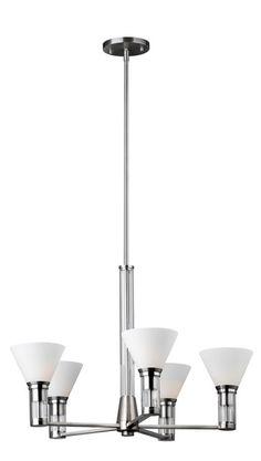 forecast lighting f157036 haven collection 5 light chandelier in satin nickel finish - Forecast Lighting