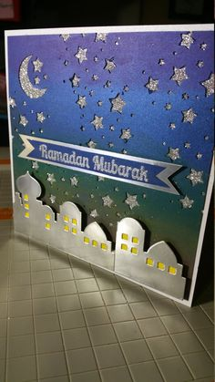 Items similar to Handmade Ramadan or Eid Card with Sunset Night Sky- Crescent Moon and Stars. Heat embossed banner on front with flourishes and lanterns. on Etsy - Resim Burada 3 Ramadan Cards, Ramadan Gifts, Ramadan Mubarak, 2018 Ramadan, Diy Eid Cards, Hajj Mubarak, Muslim Ramadan, Ramadan Decorations, School Decorations