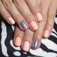 Accurate nails, Beautiful nails 2016, Julynails, Nails for dairy dress, Pattern nails, Peach nails, Shellac nails 2016, Silver nails