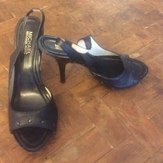 "Michael Michael Kors black leather heels Michael Kors leather heels, only worn once, ""5 heel, a little wear and tear MICHAEL Michael Kors Shoes Heels"