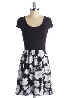 Artistic Allure Dress. Demonstrate your artistic flair by wearing this monochrome floral dress!  #modcloth