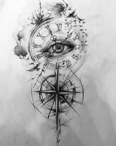 Image may contain: drawing – Tattoo Sketches & Tattoo Drawings Clock Tattoo Design, Compass Tattoo Design, Tattoo Design Drawings, Tattoo Sleeve Designs, Tattoo Sketches, Forarm Tattoos, Time Tattoos, Leg Tattoos, Body Art Tattoos