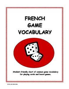 French Game Vocabulary (Vocabulaire du jeu) - Chart + Mini Posters - French Teacher Canada - TeachersPayTeachers.com