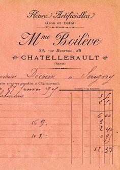 antique french flower seller invoice #branding