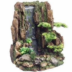 Mountain Cliff with Waterfall Adorn your aquarium with this beautiful air bubble waterfall. Tabletop Water Fountain, Garden Water Fountains, Small Fountains, Fountain Ideas, Indoor Fountain, Indoor Water Features, Waterfall Features, Waterfall Fountain, Moss Garden