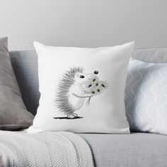 'Hedgehog With Flowers' Throw Pillow by PounceBoxArt Free Stickers, Designer Throw Pillows, Pillow Design, Hedgehog, Cushions, Art Prints, Printed, Awesome, Shop