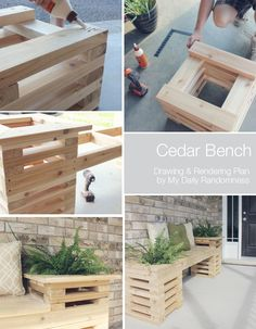 How to Build A Cedar Planter Bench + Drawing and Rendering // Looking for a new statement pieces for you deck, porch or outdoor space? This beautiful cedar bench is just what you need!