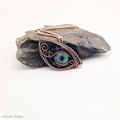 Dragon Eye, OOAK, Dragon Eye Pendant / Necklace, Lampwork Eye Cabochon, Swarovski Crystals, Copper Wire Wrapped