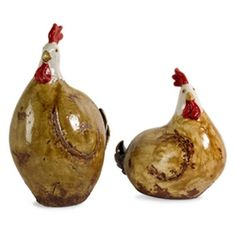 Rustic Brown & Cream Ceramic Chickens