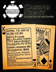 STHM Senior Seminar presents Casino Night at the Top of the Tower in Center City Philadelphia on April 13, 2012!
