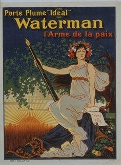 French ad for Waterman fountain pens, 1919, by Eugene Oge (1861-1936).